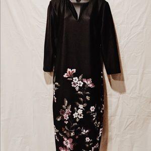 New York & Co. Black Flower dress Size Large